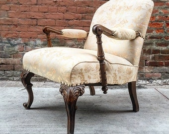 Antique Wood Carved Clawfoot Nailhead Library Accent Chair