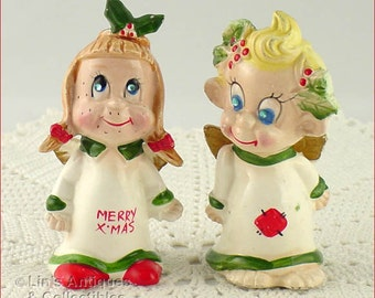 Vintage Kreiss Mischievous Christmas Angels Shaker Set (Inventory #CH1356)
