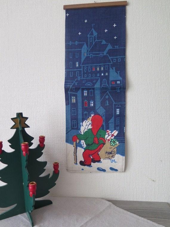 Vintage Christmas Wall Decor : Vintage swedish printed christmas wall decor gnome with