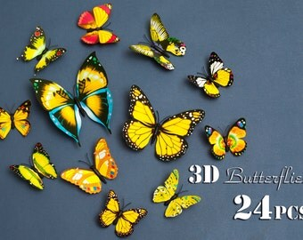 Yellow 3d butterfly wall decal - 24 pcs butterfly wall décor wall mural decals kids wall murals wall mural stickers bedroom wall decals 243