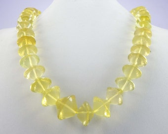 """Lemon Quartz faceted Beads 1 Strand, 19"""" 476 cts 9x19 mm Beads Natural Faceted dimond shape Cut Beads Wholesale Beads"""