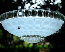 Bird feeder - glass bird bath - hanging glass planter