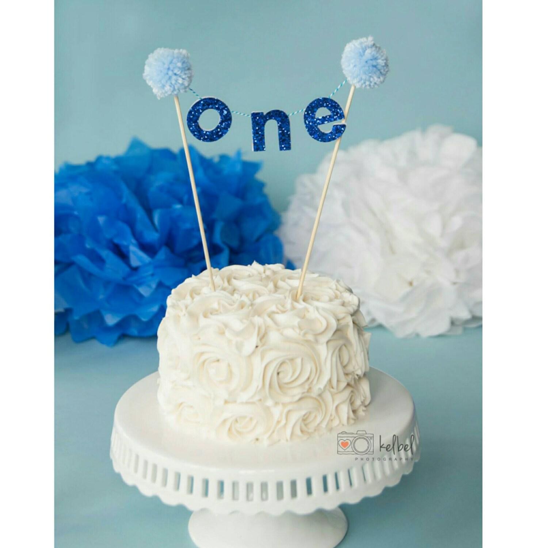 Royal Blue ONE CAKE Banner Birthday Banner Cake Topper Cake