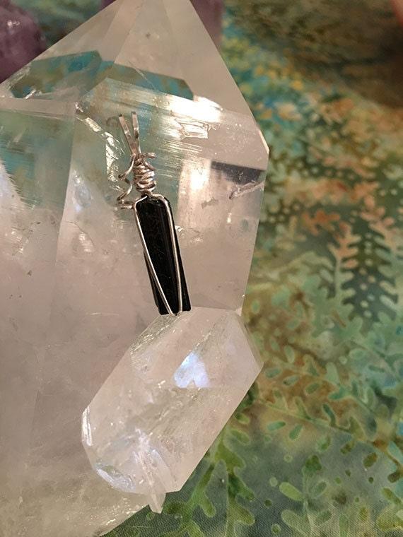 Black Tourmaline Crystal Necklace, Empath Jewelry, Crystal Wire Wrapped Jewelry