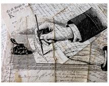 The Writer Printable Vintage Illustration, Book Art, Antique Graphic, Handwriting, Cursive Letters, Digital Collage, Victorian Art DOWNLOAD