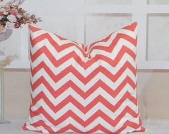 SALE Coral Pillows Chevron Pillows Chevron Coral on White Decorative pillow covers Throw Pillow Covers Coral Zig Zag Pillows 14 16 18 20 22
