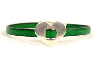 Kidney Cancer Awareness Bracelet - Dark Kelly Green 5mm Flat Leather with Antique Silver Heart, Charm Holder, Crystal, Magnetic Clasp(5-373)