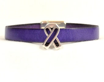 Pancreatic Cancer Awareness Bracelet - Purple 10mm Flat Leather Bracelet with Awareness Slider and Magnetic Clasp (10FA-094)