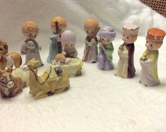 Vintage 1960's Christmas creche manger scene 10 pieces. ROC