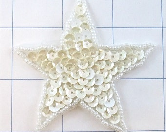 "Star with White Sequins and Beads, 3""  -0093"