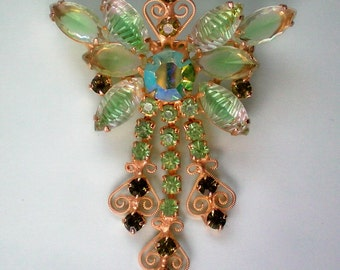 Julianna Glass and Metal Dangle Brooch - 4117