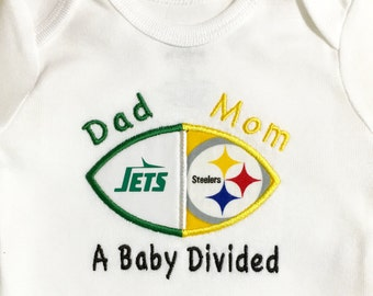 Personalized House Divided Baby Football Bodysuit, Shirt, Burp Cloth, Bib - You Choose ANY TEAMS - College and NFL Steelers Jets