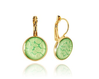Light Green Emeralddangle earrings Glossy sparkling everyday jewelry Military style Only for her St.Patrick's Day Emeral gold