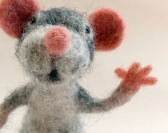 Grey Mouse Needle Felt Sculpture. OOAK