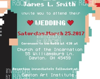 Pixel Wedding Invitation