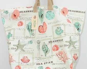 Last one! Canvas Bag: Seashells, washable