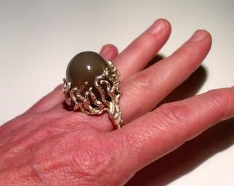Brutalist Studi Sterling Silver 50+ Carat GREEN MOONSTONE Branches Ring, Signed