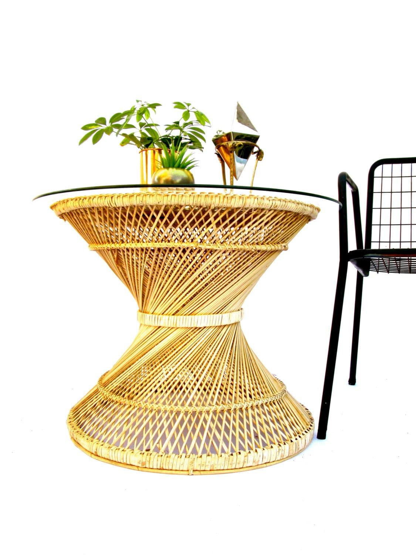 Mid Century Bohemian Spun Natural Rattan Hourglass Coffee Table Glass Top Indoor Outdoor