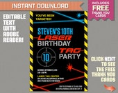 Laser Tag Invitation with FREE Thank you Card - Laser Tag Party - Instant Download - Edit and print at home with Adobe Reader