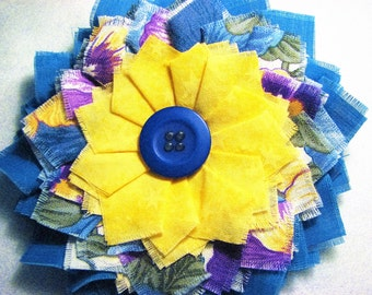 Hand Made Shabby Chic Fabric Hair Flower Clip-  'Forget me Not'