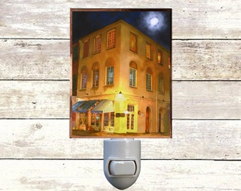 "Night Light, ""Chartroom"", New Orleans Icons,  Handmade, Copper Foiled"
