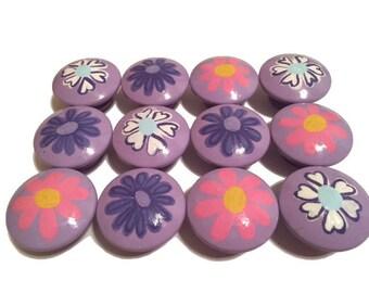 12 Custom Girls Purple Flower Garden Hand Painted Drawer Pulls Knobs