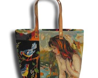 Le Nine, A French Tapestry Purse, Canvas Handbag
