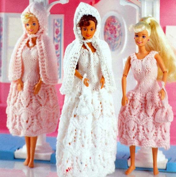 Vintage Knitting Pattern PDF Fashion Doll Wedding Dress