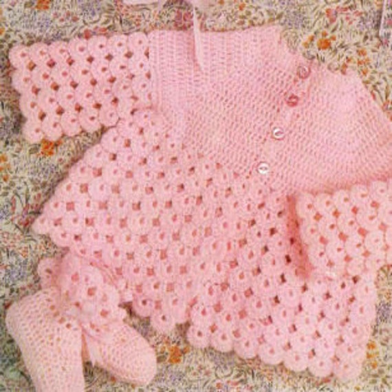 Vintage Crochet Pattern Baby Matinee Coat Bonnet And Bootees