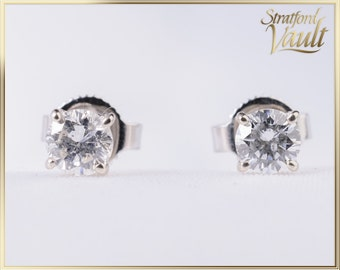 GIA ~ 1800.00 ~ Ladies Diamond Solitaire Earring Studs ~ 14K White Gold ~ 0.50ctw Genuine Round Brilliant Cut I/I1 Diamonds ~ STR17103