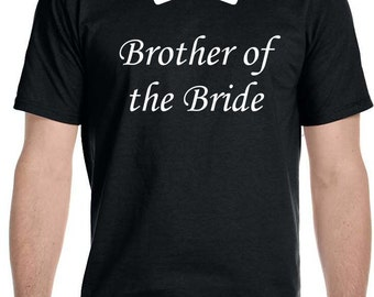 Brother of the Bride with Bow Tie Wedding Black T-shirt