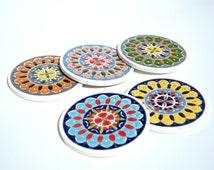 Ceramic Coaster Set, Bohemian Coaster, Ceramic Decor, Drink Coaster, Handpainted Coaster, Mandala Decor, Greek Art, Stone Coaster, Boho Art