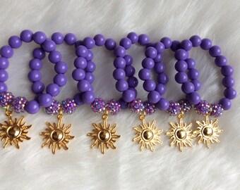 Set of 6 Rapunzel inspired party favor bracelets.. Rapunzel party..Rapunzel bracelets.. Party favors