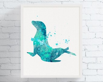 Captivating Sea Lion Art, Sea Lion Print, Watercolor Sea Lion, Sea Lion Painting,