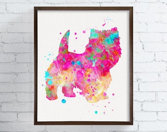 Watercolor West Highland Terrier, Westie Art, Westie Print, Westie Painting, Westie Wall Decor, Westie Dog, Westie Ornament, Dog Wall Art