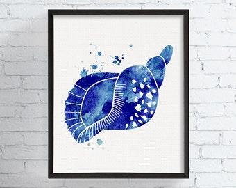 Sea Shell Art, Sea Shell Print, Watercolor Sea Shell, Nautical Wall Decor, Coastal Wall Art, Coastal Decor, Beach Decor, Bathroom Wall Decor