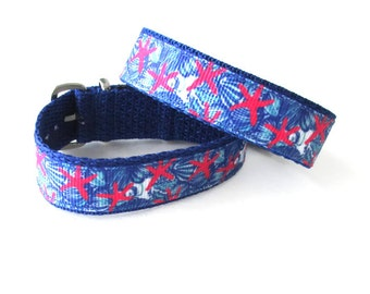Lilly Fabric Inspired, Starfish Watch Band for Timex Weekender Watch, Band Only, Replacement Strap in 16mm or 20mm Widths