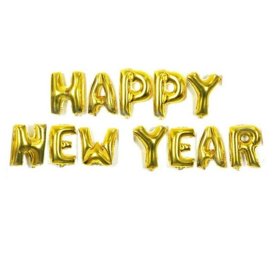 """16"""" or 40"""" Giant Gold Silver Happy New Year Foil Number ..."""
