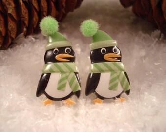 Penguin Earrings  - Penguin Stud Earrings - Christmas Penguin Posts
