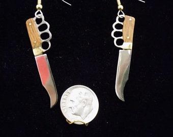 Handmade knuckle knife earrings