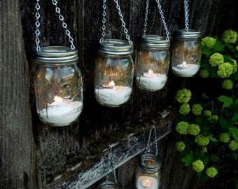 Mason Jar Decor - Hanging Lantern - Set of 6
