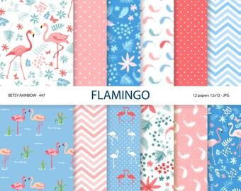 Flamingo digital papers, flamingos, scrapbook paper, digital backgrounds - BR 447