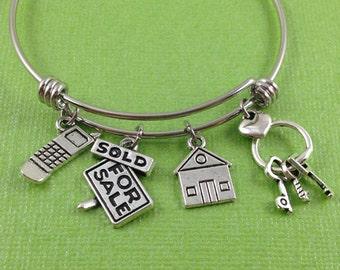 Realtor Charm Bracelet, Real Estate Charm Bracelet, Realtor Bangle, Real Estate Bangle, Gift for Realtor, Gift for New Home Owner