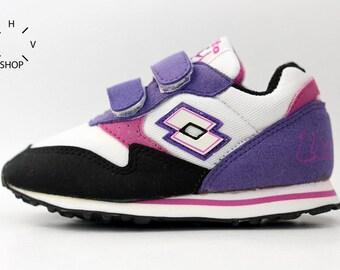 Lotto Runner Plus Velcro Sneakers / Vintage Kids shoes / Junior sneakers / Lotto Toddler sneakers / 80s 90s