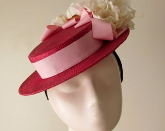 Fuchsia Boater Hat with Pink Ribbon and Flowers