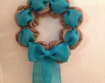 Turquoise burlap wreath - Tan burlap - Natural - Simplicity - Rustic - Classic