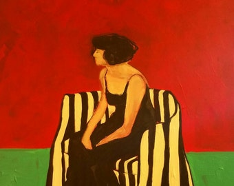 Original Painting 20 x 20 x 3, The Stripped Chair, figuratie, female, portrait, black dress impressionist, abstract textured, female, erotic