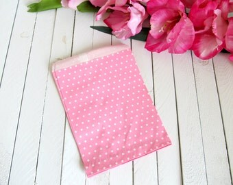 "Set of 25 - 5 1/8"" x 6 3/8"" Pink Mini Polka Dot Paper Merchandise Bags - Perfect for Baby Showers, Wedding Favors, Favor Bags"