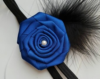 Simple Blue Rose w/ Feathers on a Stretchy Headband