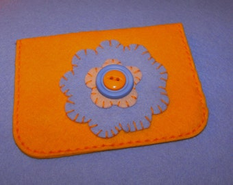 100% Wool Felt Gift Card Holder/Cash Gift Holder/Change Purse Handstitched Cotton Floss Hand Embroidered All Handcrafted Citrus Periwinkle